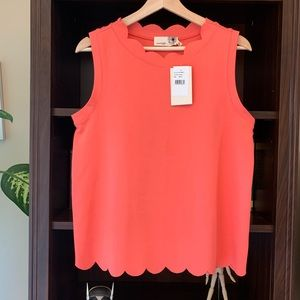 NWT Coral Scalloped Blouse Top Shell